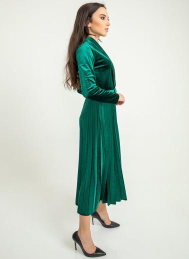 Foremia Piliseli Ceket Yaka Kadife Elbise Yeşil